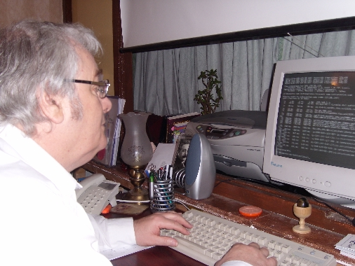Keith working at the computer